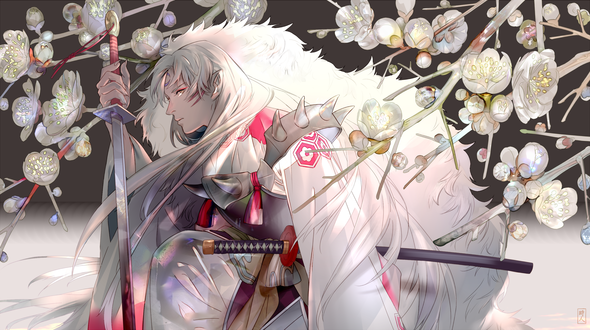 Обои Sesshomaru / Сессшомару из аниме Инуяша / InuYasha, by SaigaTokihito