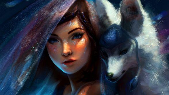Обои Гласеон / Glaceon из игры Покемон / Pokemon и Снежная Королева / Snow Queen, by TamberElla