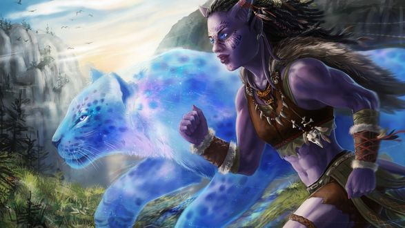 Обои Девушка эльф бежит с призрачным голубым леопардом