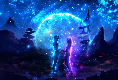 Обои Влюбленные стоят на фоне полной луны, by ryky