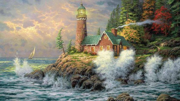 Обои На берегу моря с волнами, бьющимися о прибрежные камни, дом с трубой, из которой идет дым, рядом маяк, за домиком осенний лес, на море виднеется парусник, художник Thomas Kinkade