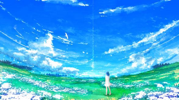 Обои Девушка стоит на поляне, любуясь облачным небом, by Y_Y