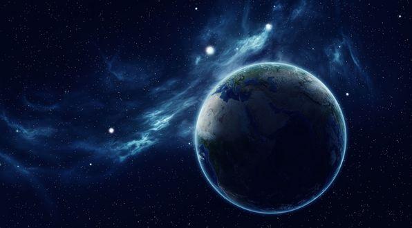 Обои Земля в космическом пространстве на фоне скопления звезд и туманностей