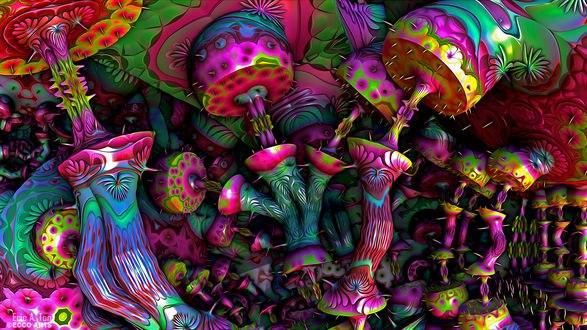 Обои Абстракция текстурная фрактальная психоделическая