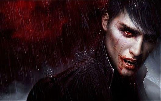 Обои Парень вампир с красными глазами, с окровавленными губами, с татуировкой креста на лице на фоне молний под дождем, by Melanie Delon