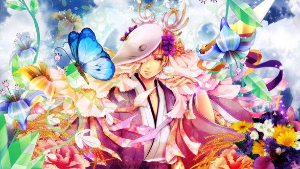 Обои Takashi Natsume / Такаши Нацумэ в маске среди цветов из аниме Natsune Yuujinchou / Тетрадь друзей Нацумэ