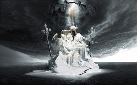 Обои Сидящий на троне люцифер держит на руках падшего ангела в окружении канделябров на фоне небесных врат, by George Grie