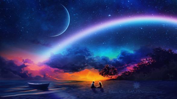Обои Влюбленные сидят на берегу в волшебную ночь, by GeneRazART