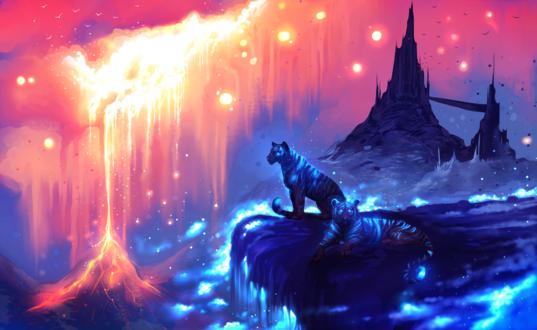 Обои Два тигра на обрыве на фоне огненной лавы, by ryky