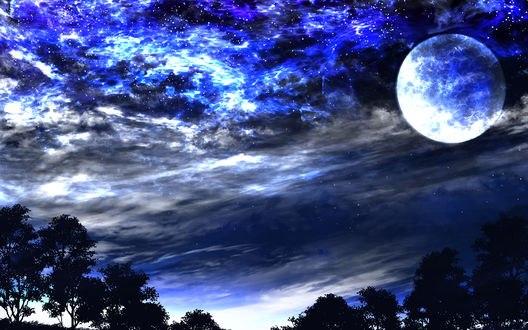 Обои Луна в облачном небе над деревьями, by saya