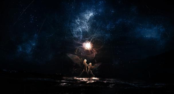 Обои Мать и дочь - феи творят магию на фоне звездного неба, автор c. c. r
