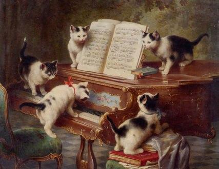 Обои Сольный концерт котят / The Kittens Recital, by Carl Reichert, 1908 год