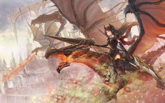 Обои Темный драгун Форте / Dark Dragoon Forte из коллекционной карточной игры Ярость Бахамута / Shingeki no Bahamut / Rage of Bahamut управляет армией драконов, автор koroneko p0w0q