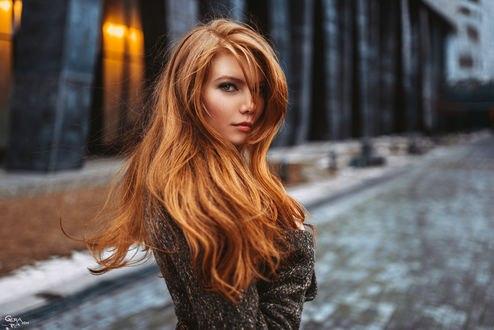 Обои Модель Алина Коваленко / Alina Kovalenko на размытом фоне улицы города