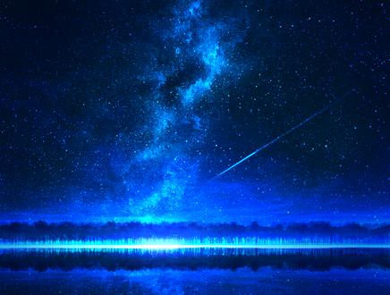 Обои Млечный путь и падающая звезда в ночном небе над озером, by mks