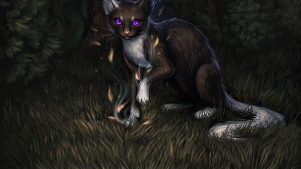 Обои Фантастическое животное с фиолетовыми глазами