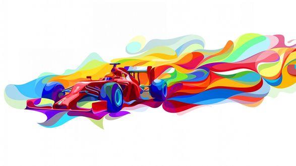 Обои Гоночный автомобиль среди разноцветной абстракции на белом фоне