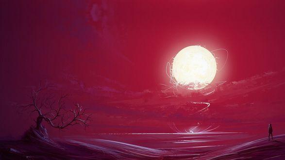 Обои Среди пустынной местности с одиноким деревом у воды стоит человек и смотрит на огромный шар Солнца, автор Roman Razgriz