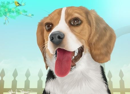 Обои Собака с высунутым языком, by renen02