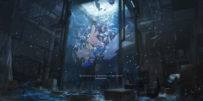 Обои Девушка-ангел плавает в воде в стеклянном аквариуме в темной лаборатории, art by Miv4t