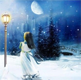Обои Девочка стоит у фонаря на фоне вечернего зимнего пейзажа, by anaRasha