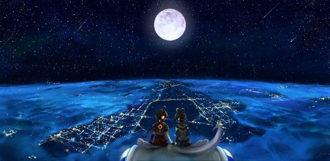 Обои Китайские Вокалоиды / Vocaloid China Ло Тяньи / Luo Tianyi и Язен Лин / Yuezheng Ling, держась за руки, сидят на Тян Дян / Tian Dian и любуются видом ночного города в облаках с высоты, на фоне звездного неба и полной луны