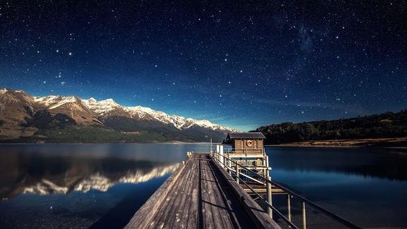 Обои Причал на горном озере