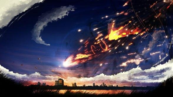 Обои Метеориты в закатном небе, by Y_Y