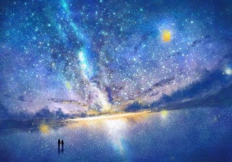 Обои Парень и девушка стоят, держась за руки, на зеркальной поверхности на фоне звездного неба, by うさたろす@コミックシティ参加