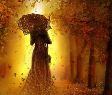 Обои Девушка-осень с зонтом, by Amalia Chitulescu
