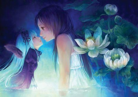 Обои Ангел и девочка смотрят друг другу в глаза