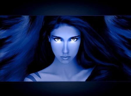 Обои Девушка с синими волосами со светящимися глазами