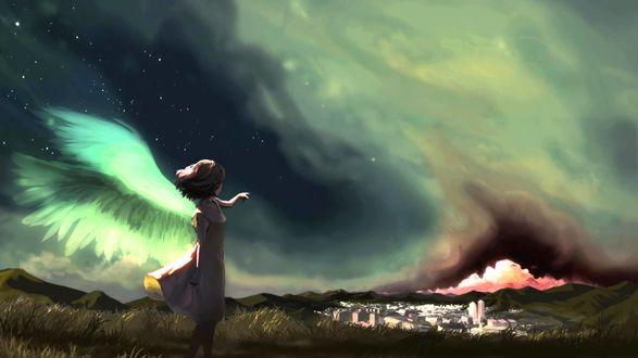 Обои Девушка ангел со светящимися крыльями, стоящая на горе, протянула руку, указывая на город в низине, by Jack Novak