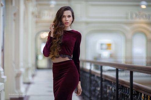 Обои Красивая девушка в бархатной одежде, фотограф Михаил Герасимов