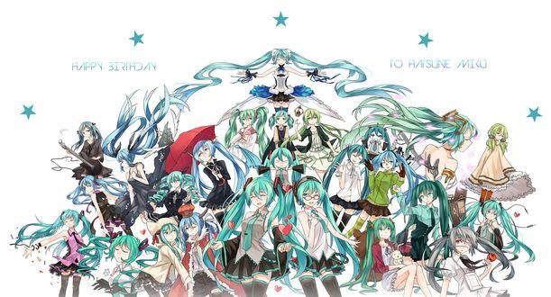 Обои Vocaloid Hatsune Miku / Вокалоид Хатсуне Мику в разных своих воплощениях, art by Nisoku Hokou (happy birthday / с днем рождения)