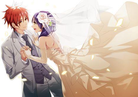 Обои Свадьба персонажей из аниме Кулинарная битва Сомы
