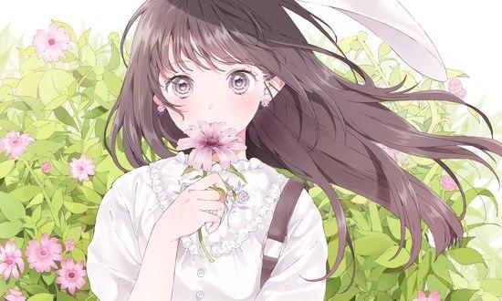 Обои Девушка с цветком в руках, автор Shizuko