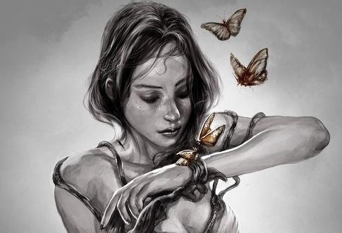 Обои Девушка смотрит на руку с бабочками, by mehdic