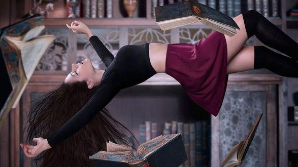 Обои Девушка с закрытыми глазами, раскинув руки, парит на фоне книжных полок и летающих книг, постер к сериалу The Magicians / Волшебники