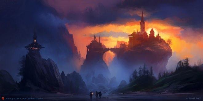 Обои Мужчины на лошадях смотрят на магический замок, стоящий на горах, by andreasrocha