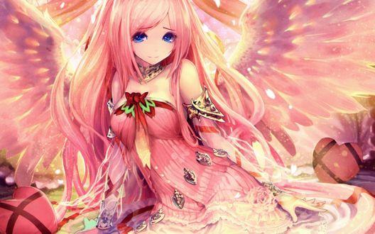 Обои Девушка-ангел в розовых одеяниях из коллекционной карточной игры Ярость Бахамута / Shingeki no Bahamut / Rage of Bahamut, автор Tachikawa Mushimaro