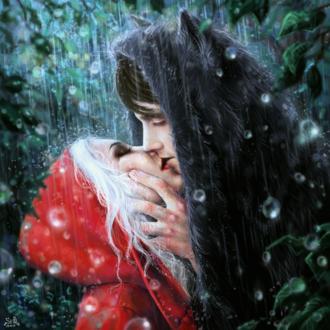 Обои Девушка и парень в образе Красной Шапочки и Волка целуются под дождем, by Fuytski