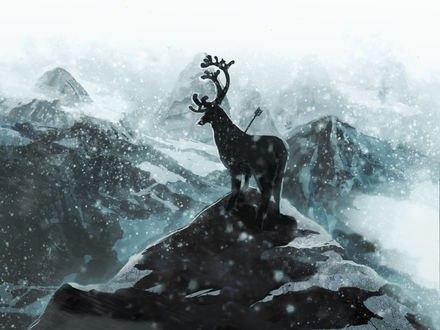 Обои Олень со стрелой в нем стоит на горной вершине под падающим снегом