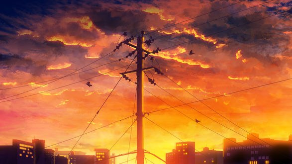 Обои Закатное небо над городом, by Y_Y