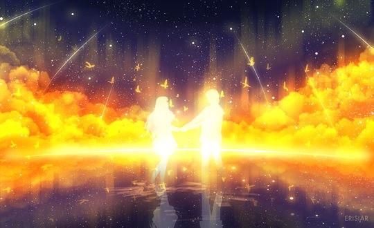 Обои Силуэты парня и девушки, стоящие в воде на фоне закатных облаков, by Erisiar