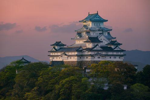 Обои Himeji castle / замок Химэдзи / замок Белой Цапли, Hyogo Prefecture, Japan / Япония, вечер, лето