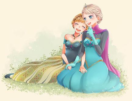 Обои Эльза / Elsa и Анна / Anna из мультфильма Холодное сердце / Frozen, автор Suzuhara