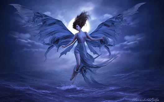 Обои Девушка в сиреневом платье и крыльями в образе ангела над водой, by Moonchild Ljilja