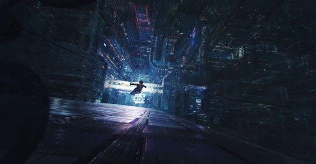 Обои Парень на тарзанке падает вниз с небоскреба, by Marek Tamowicz