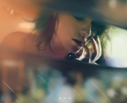 Обои Отражение девушки в зеркале заднего вида, автор Kanos
